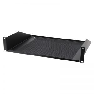 Black 2U 19″ Vented Rack Mount Shelf