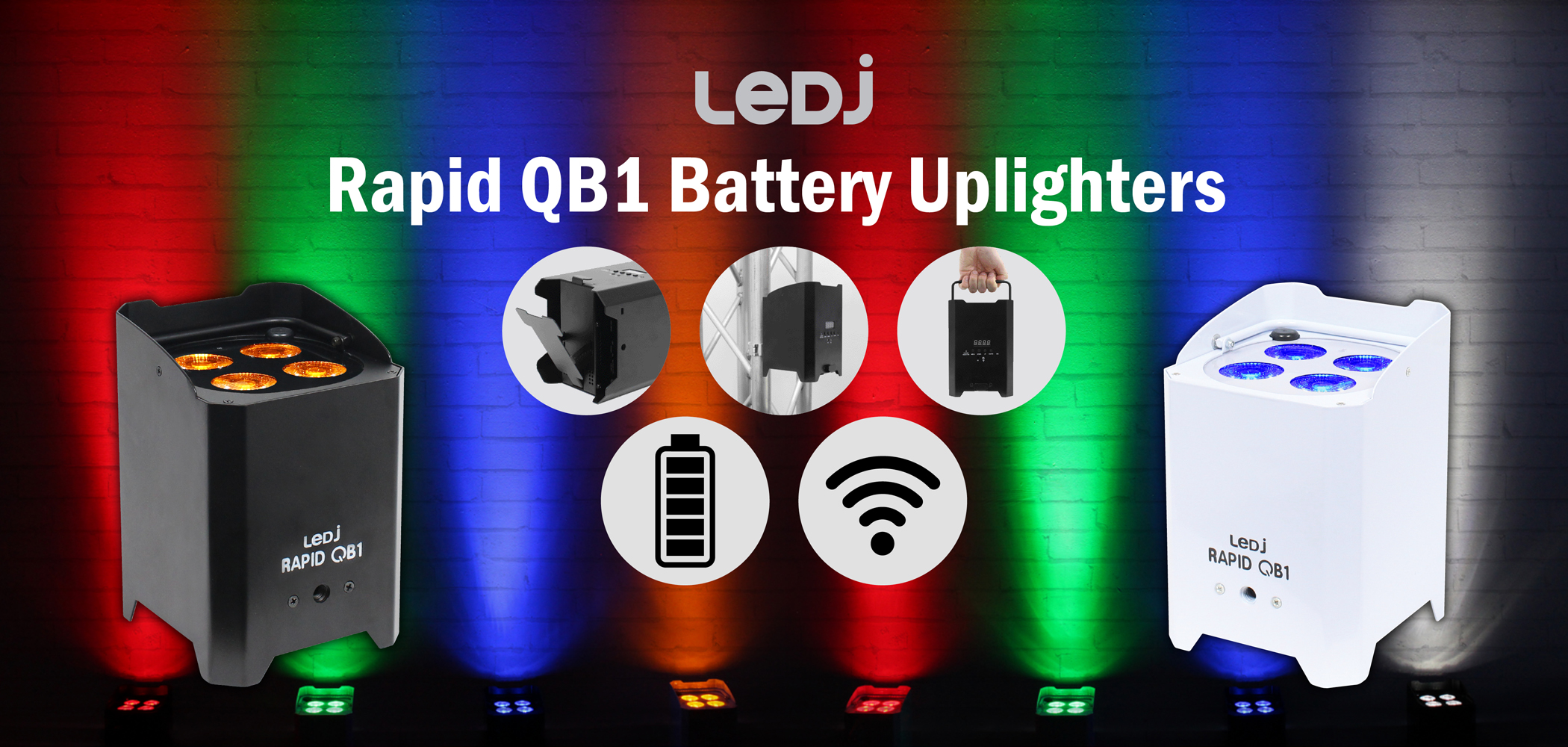 LEDJ Rapid QB1 Battery Uplighters