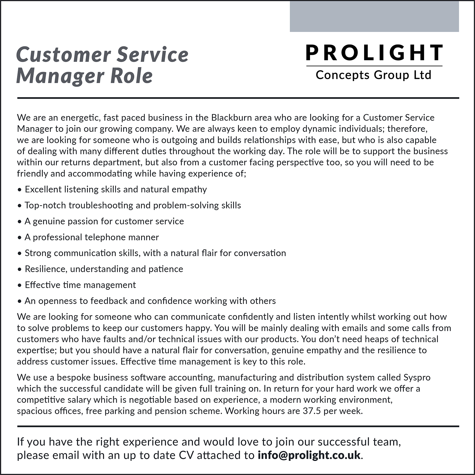 Customer Service Manager advert 15052019