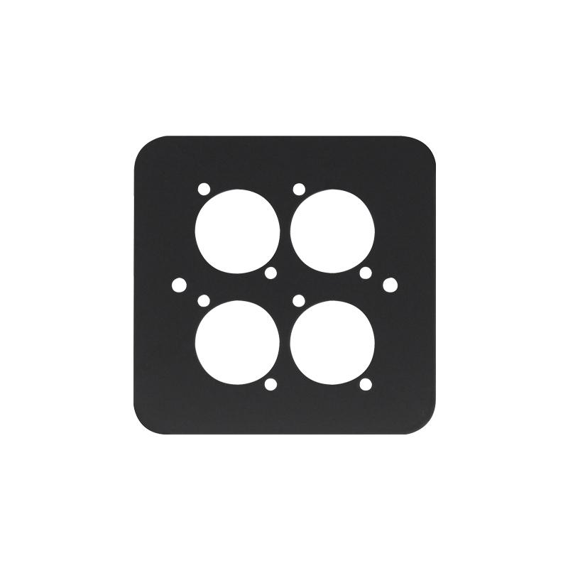 Single Gang 4x D Type Wall Plate, Black