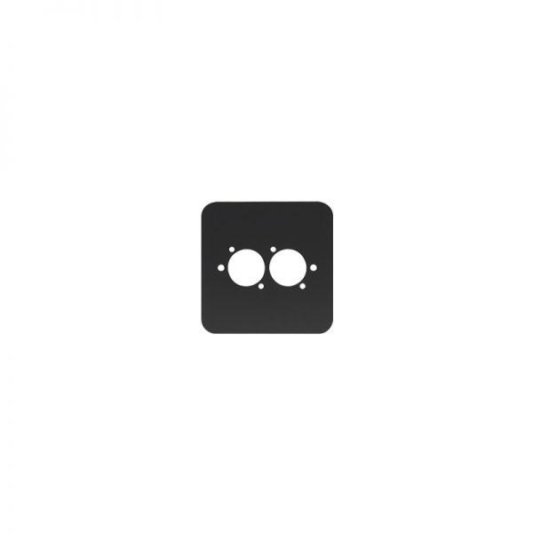 Single Gang 2x D Type Wall Plate, Black