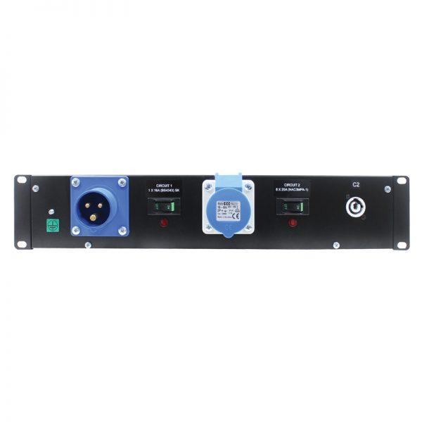 2U 19″ Rack Mount Powercon Distributor