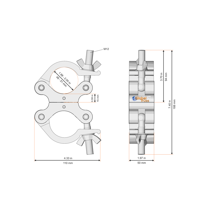 Technical drawing of the Fixed Parallel Swivel Coupler Black from Global Truss