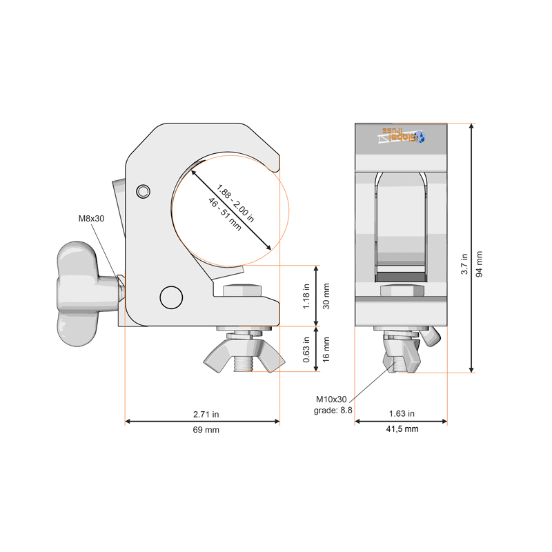 Smart Hook Clamp Silver - Technical Drawing