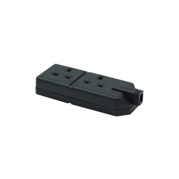 2 Gang 13A HD Mains Socket, Black (ELS132B)
