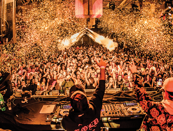 DJ and crowd with Confetti