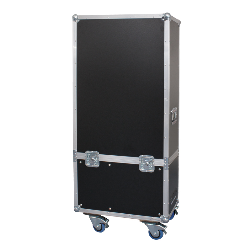 Image depicting the Confetti Booster II in its custom made case on wheels.
