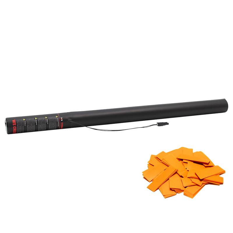Electric Confetti Cannon 80cm pre-filled with Orange slow fall confetti