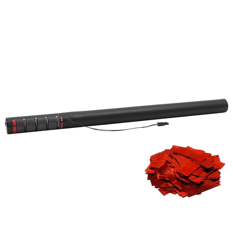 Electric Confetti Cannon 80cm Red Metallic coloured confetti