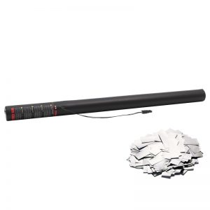 Electric Confetti Cannon 80cm Metallic Silver coloured confetti