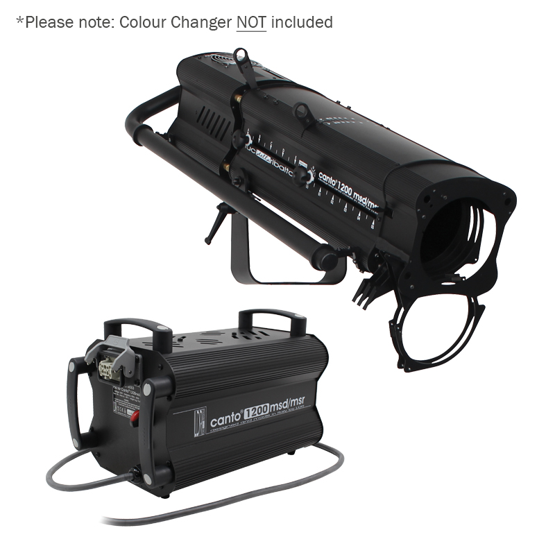 Canto 1200MSD/MSR Followspot for use in stage lighting