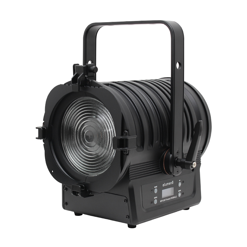 MP180 LED Fresnel RGBALC unlit unit shot taken on an angle