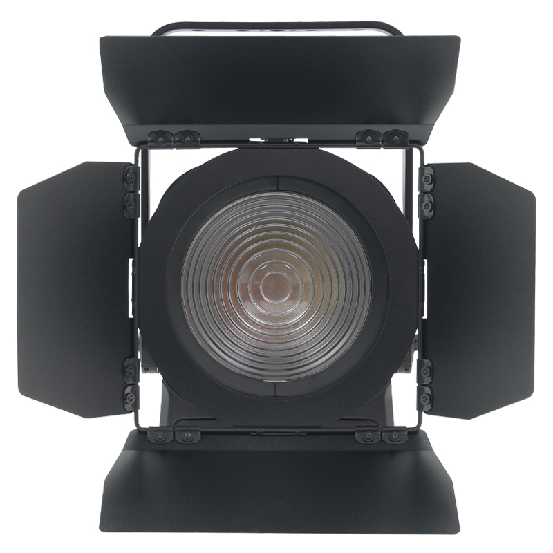MP180 LED Fresnel RGBALC Front View showing lens and barn doors