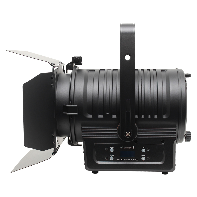 MP180 LED Fresnel RGBALC - View of the fixture side on with barn doors
