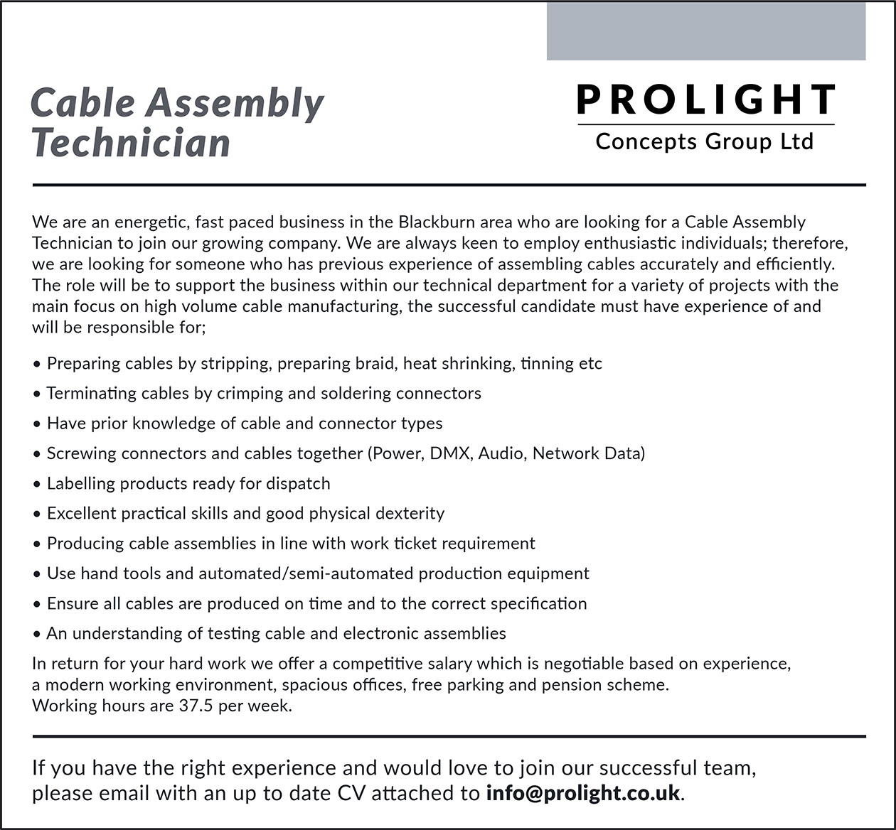 Cable Assembly Technician advert