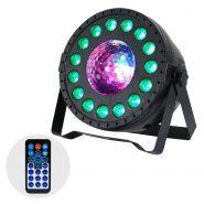 MoonPar - LED Par. Main unit shot lit up in blue and orange