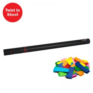 Pre-filled with multi coloured confetti this handheld confetti cannon is operated by a twist to shoot action