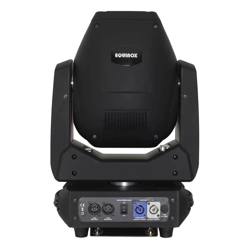 Rear of Fusion 200 Zoom Spot Moving Head showing inputs and outputs