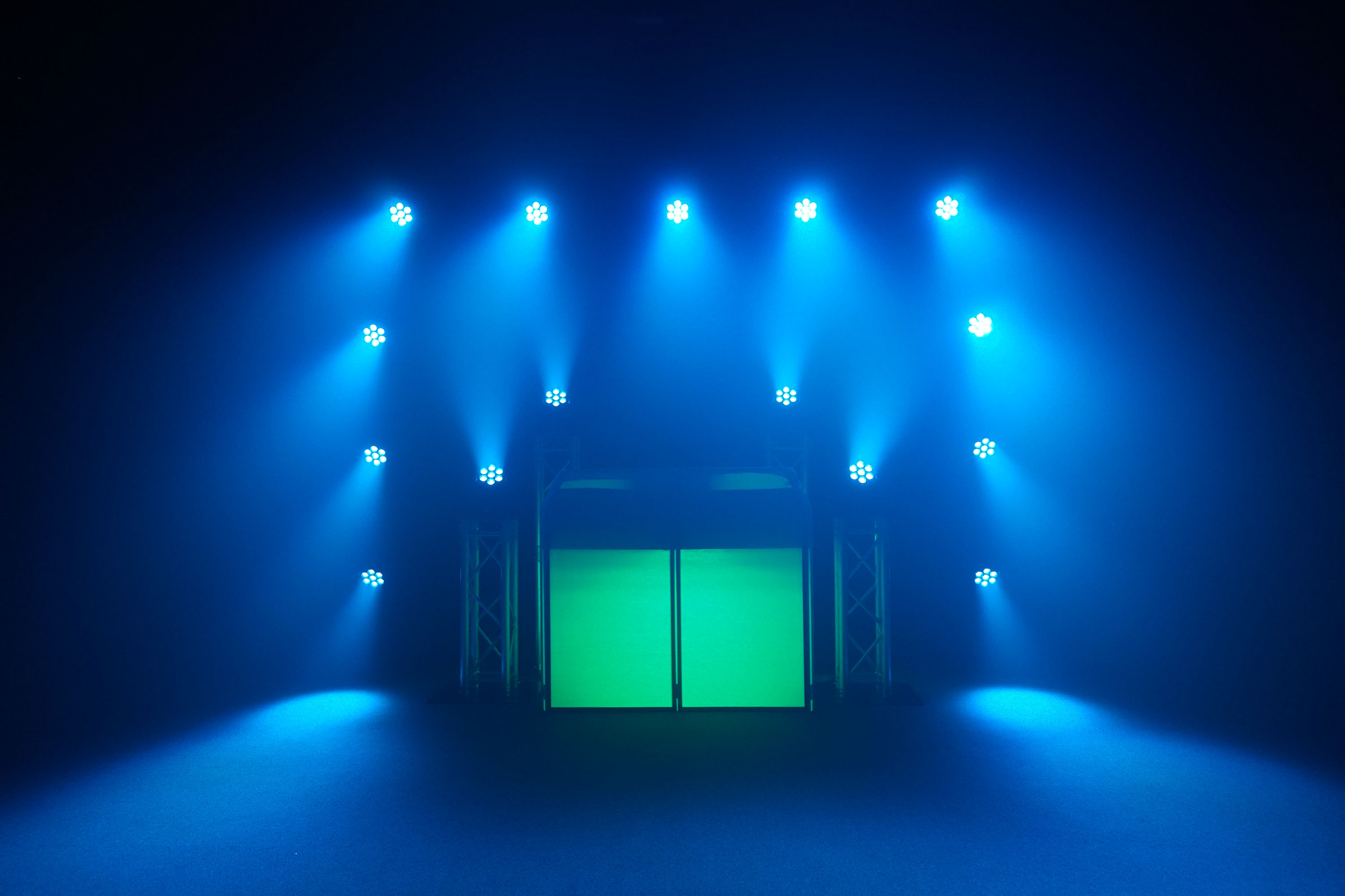 Group of Fusion 140 moving heads light set up with DJ Booth
