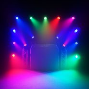 Multi colour lighting display using Equinox Fusion 140 Moving Heads