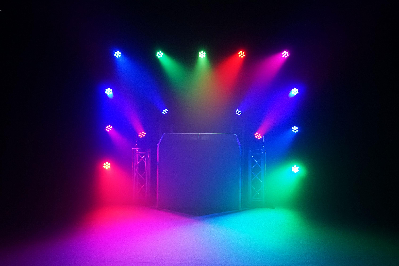 Multi colour lighting display using Equinox Fusion 140 Moving Heads