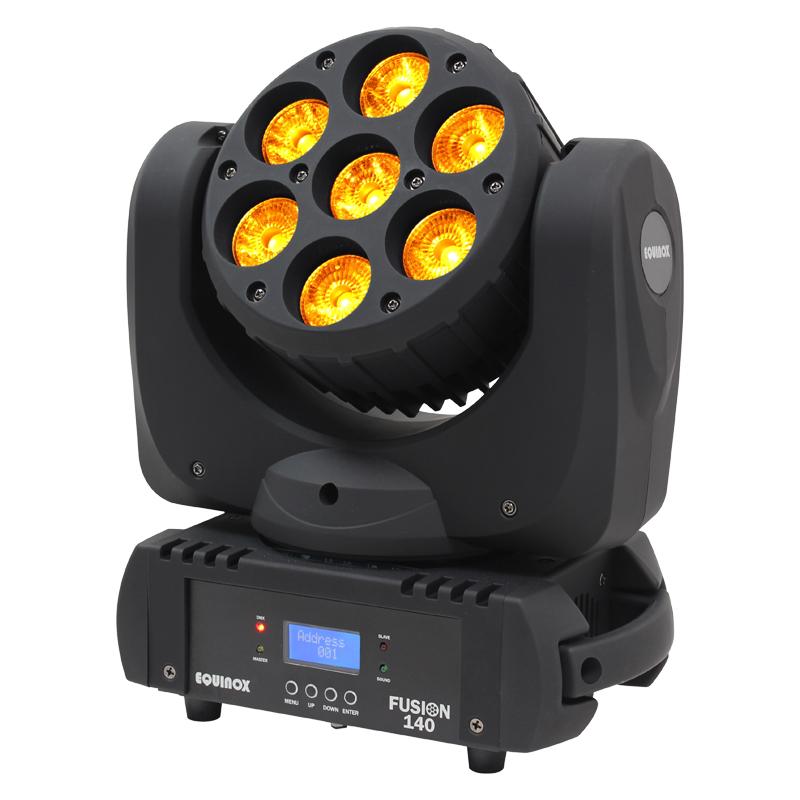 Fusion 140 Moving Head lit up with orange LEDs
